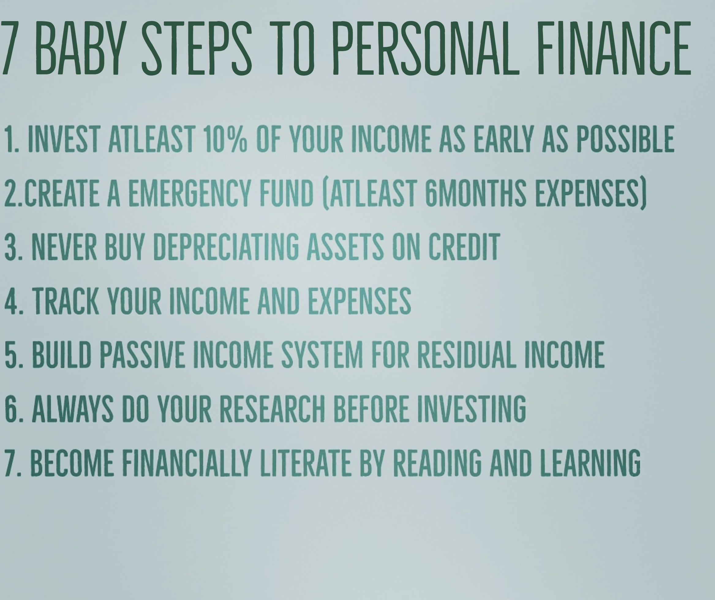 7 baby steps to Personal Finance (It's time you sort out your finance)